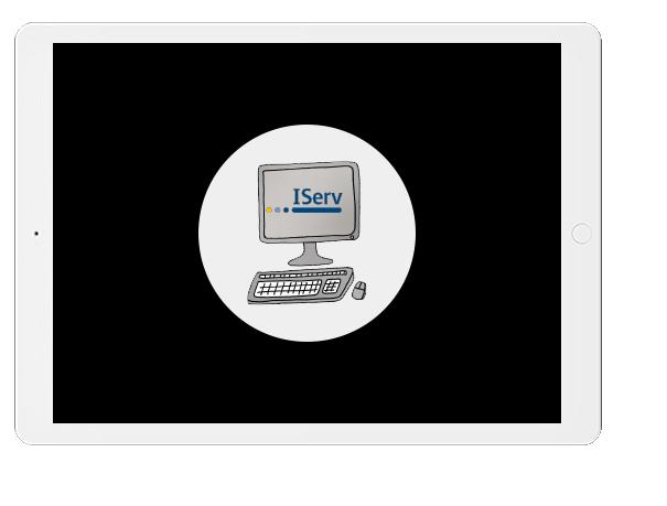 Tablet mit iServ-Logo